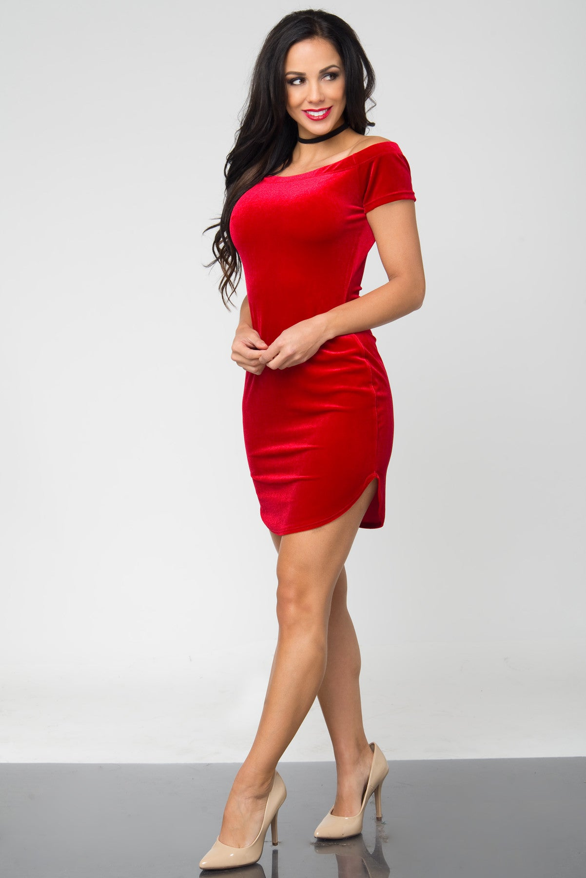 Noellia Red Velvet Dress - Fashion Effect Store  - 3