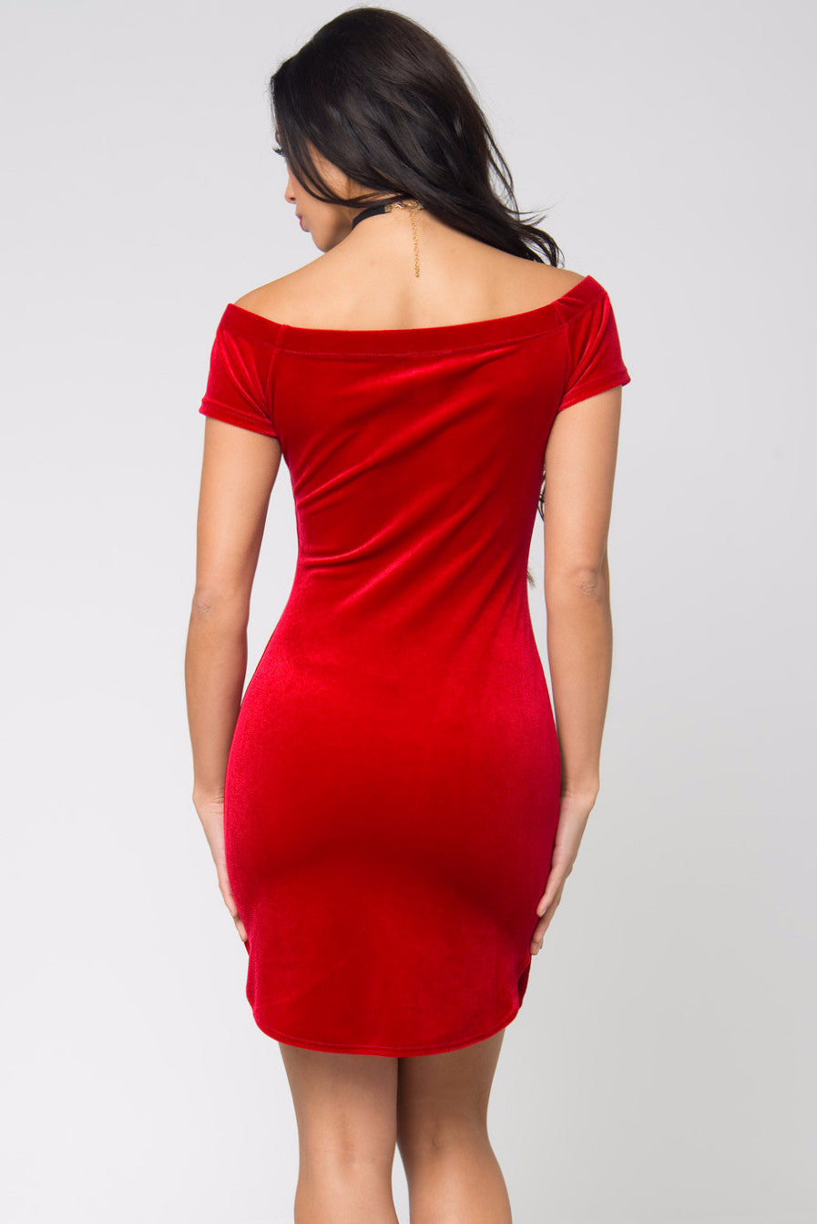 Noellia Red Velvet Dress - Fashion Effect Store  - 2