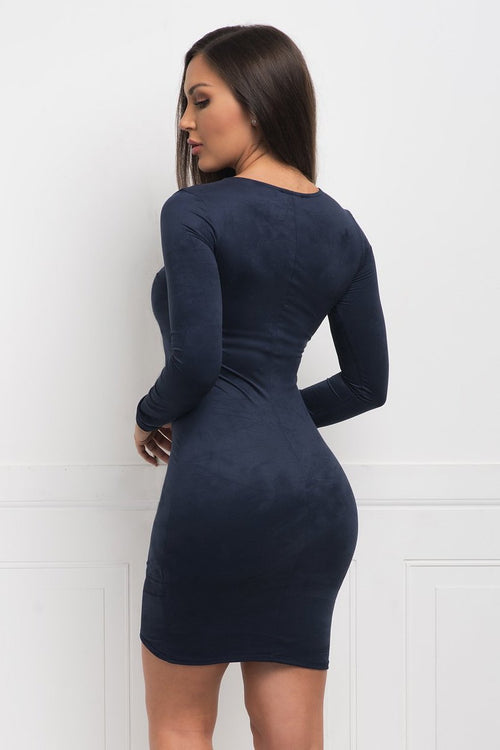 Robin Suede Dress - Navy Blue