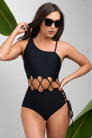 Bottom Bay One Piece Swimsuit  Black