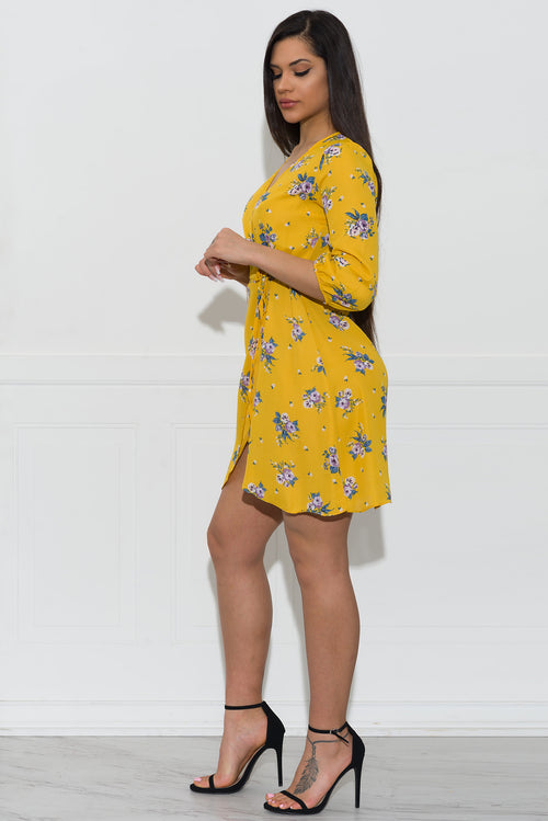 Luna Floral Dress- Yellow