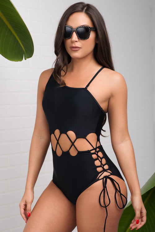 Bottom Bay One Piece Swimsuit - Black
