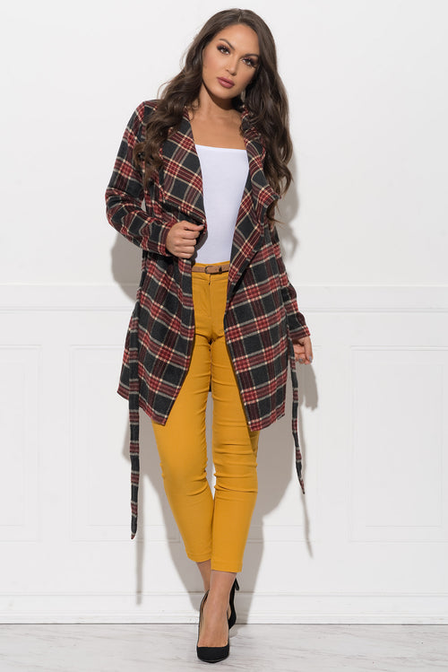 Oriel Plaid Cardigan - Grey/Burgundy