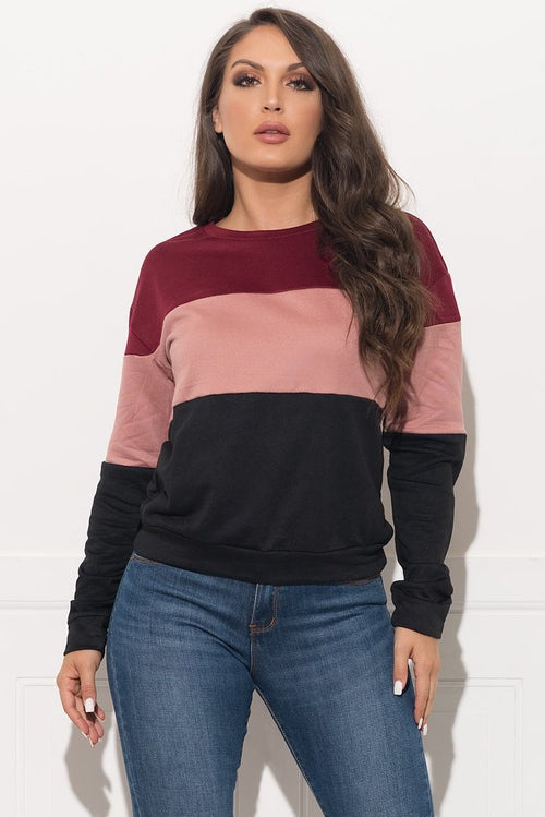 Saige Sweater Top - Burgundy/Dusty Pink