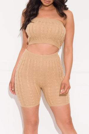 Easy Vibe Two Piece Set Khaki