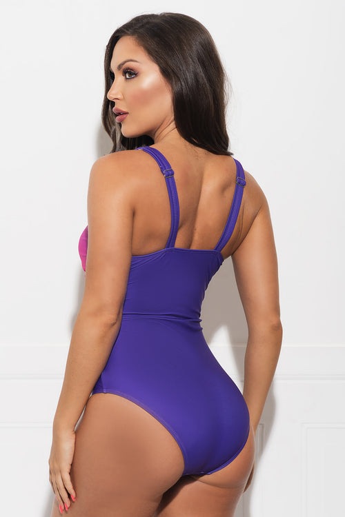 Crystal Cove One Piece Swimsuit Pink & Purple