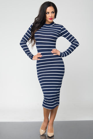 Bibi Navy Stripped Dress - Fashion Effect Store  - 1