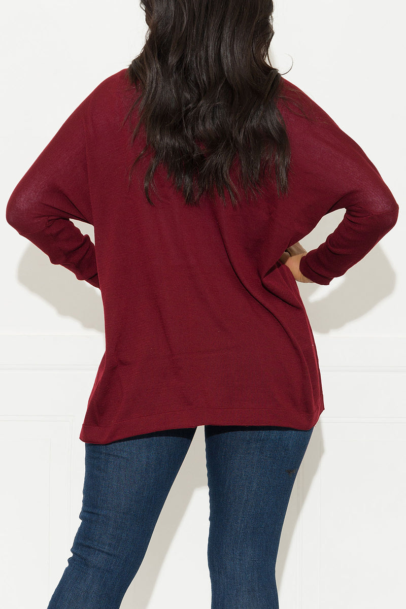Looking For You Cardigan Sweater Burgundy