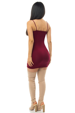 Irresistible Burgundy Mini Dress - Fashion Effect Store  - 2