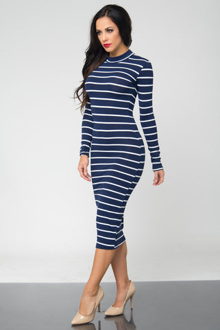 Bibi Navy Stripped Dress - Fashion Effect Store  - 2