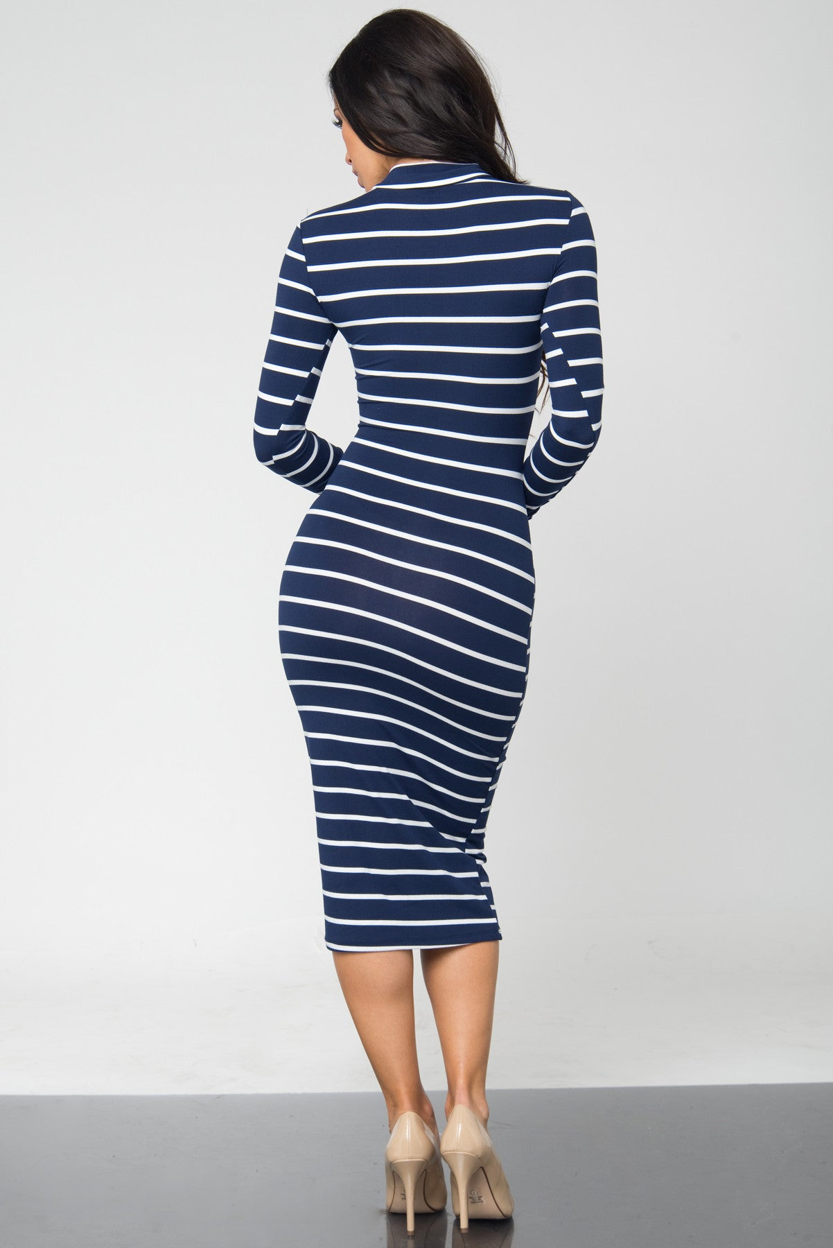 Bibi Navy Stripped Dress - Fashion Effect Store  - 3