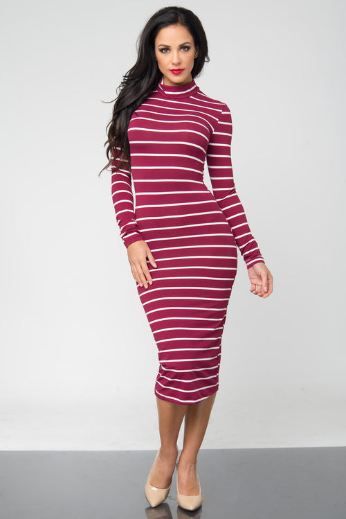 Bibi Burgundy Stripped Dress - Fashion Effect Store  - 1