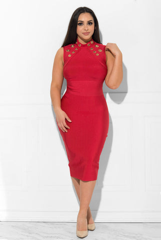 Yasmine Bandage Dress RED - Fashion Effect Store  - 1