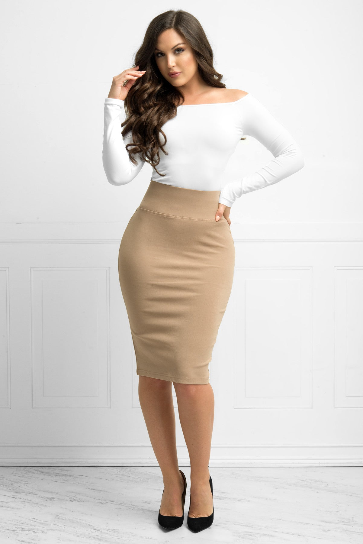 Andy Pencil Skirt Taupe - Fashion Effect Store  - 1