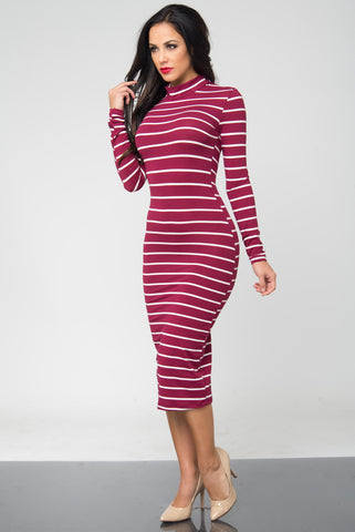 Bibi Burgundy Stripped Dress - Fashion Effect Store  - 2