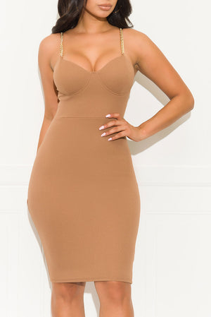 Tying You Down Midi Dress Taupe