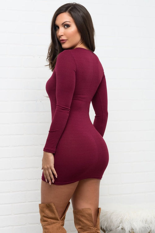 Jadelyn Dress  - Burgundy