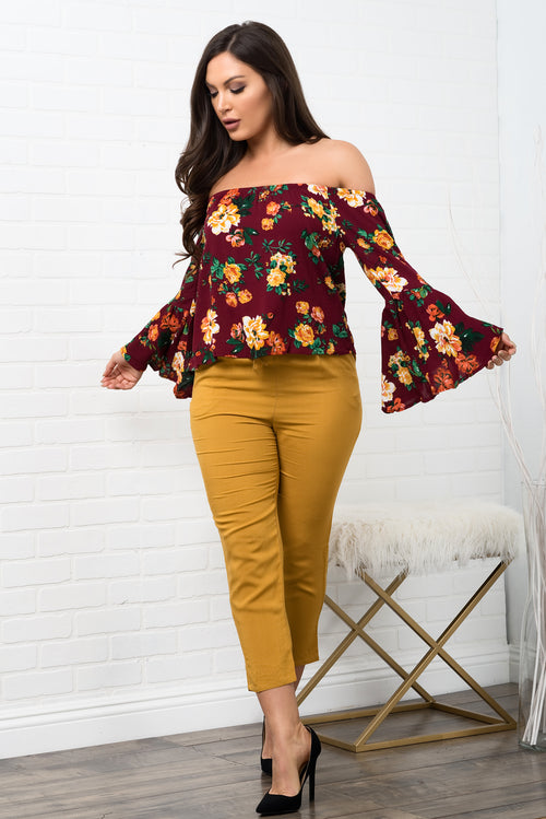 Leslie Floral Top - Burgundy