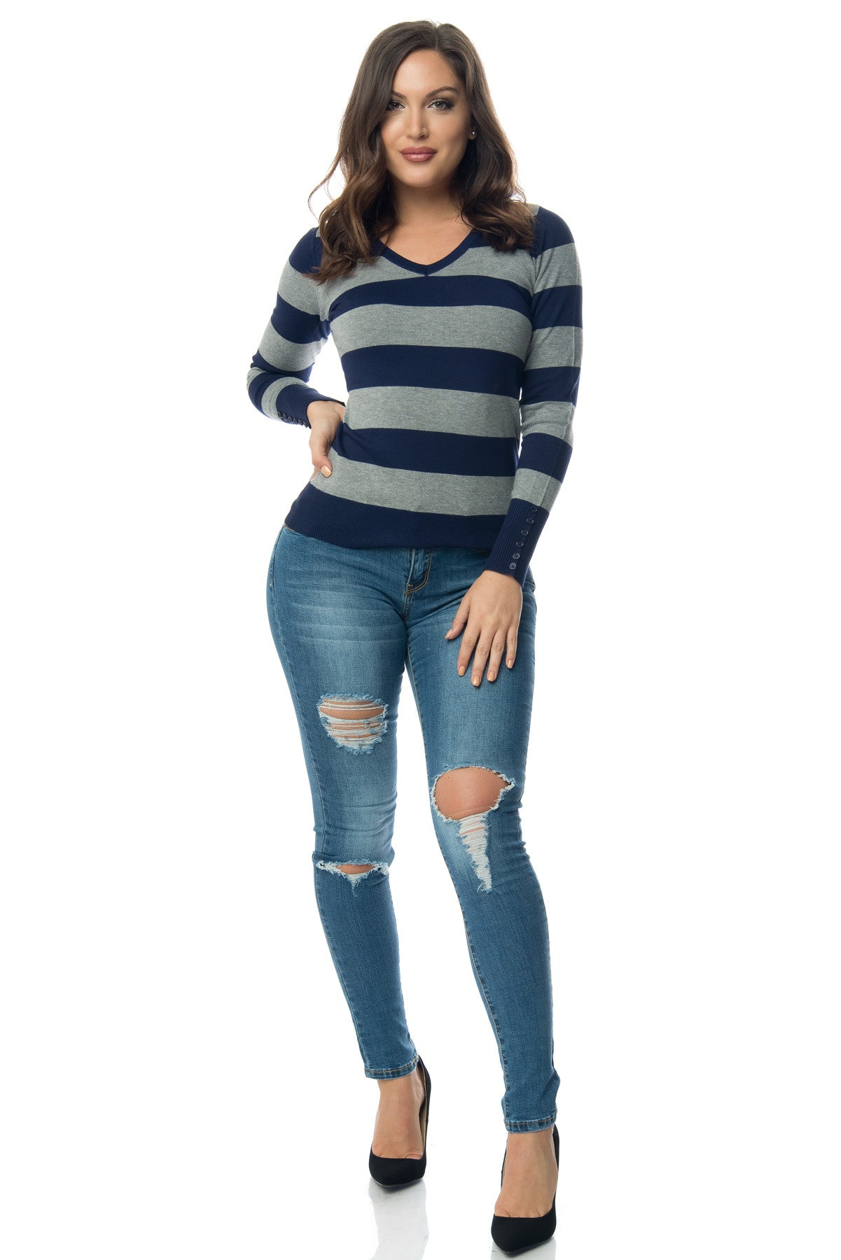 Cameron Striped Sweater Blue - Fashion Effect Store  - 3
