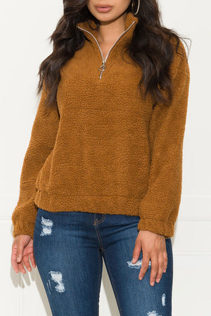 Cozy And Fun Sherpa Sweater Brown