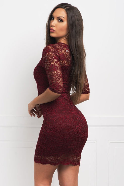 Roselyn Lace Dress - Burgundy