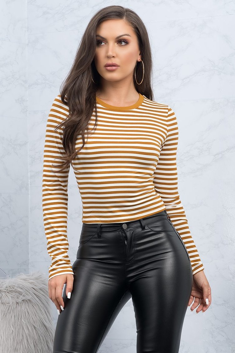 Jillian Striped Top - Mustard/Off White