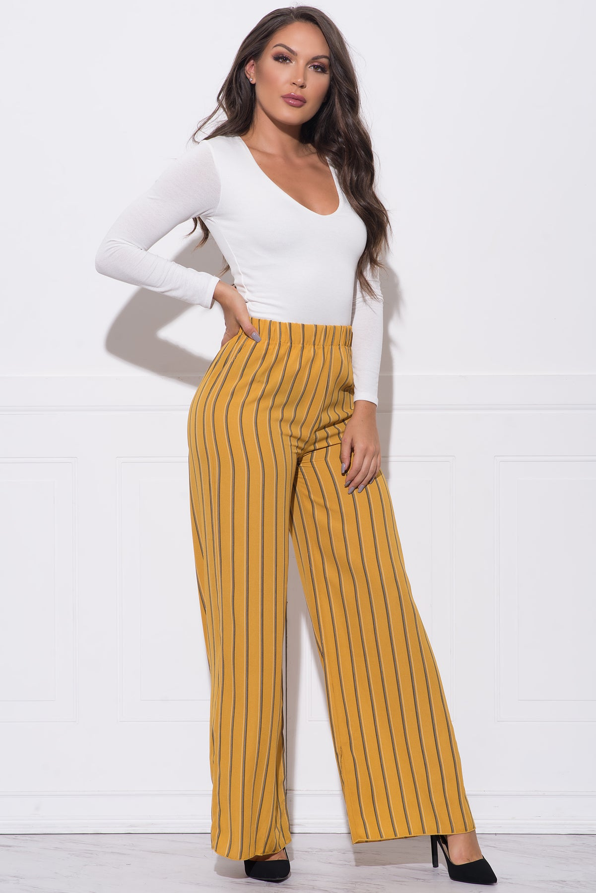 Lily Striped Pants - Mustard