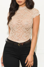 One Of A Kind Lace Blouse Taupe