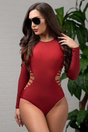 Hot Water Beach One Piece Swimsuit Burgundy