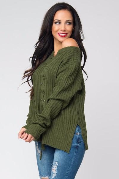 Getting Warm Olive Sweater - Fashion Effect Store  - 1