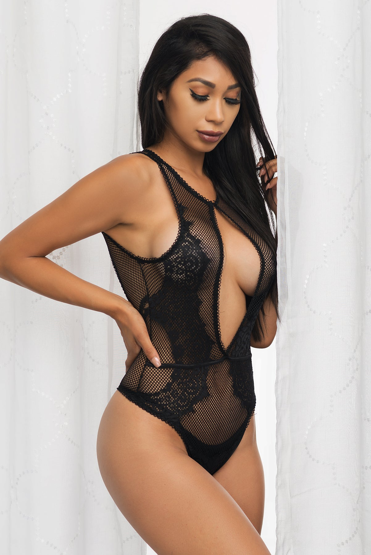 Shanell Lace Teddy - Black