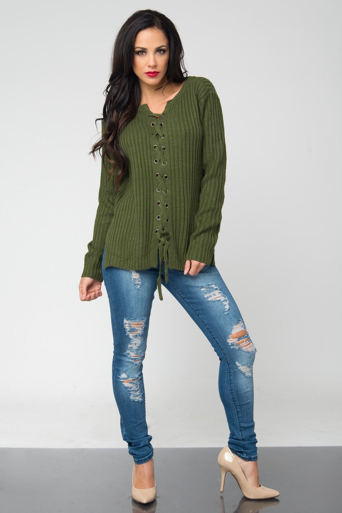 Getting Warm Olive Sweater - Fashion Effect Store  - 3