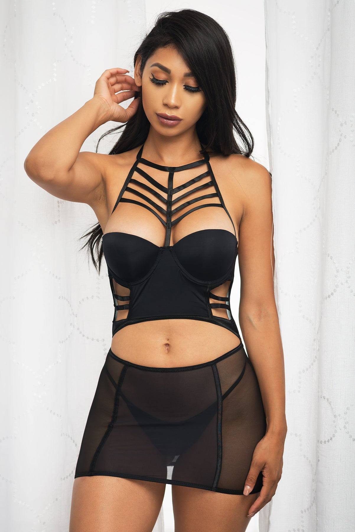 Flawless Lace Two Piece Baby Doll - Black
