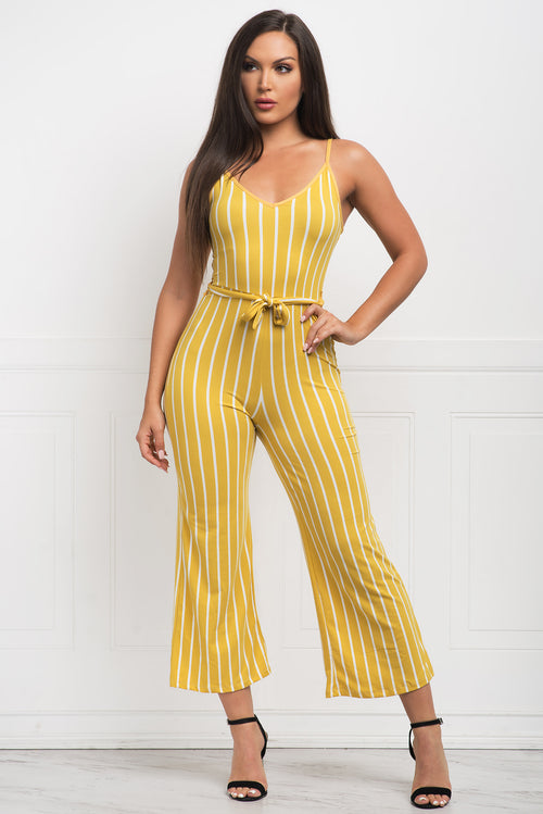 ANNIE STRIPED JUMPSUIT - Yellow
