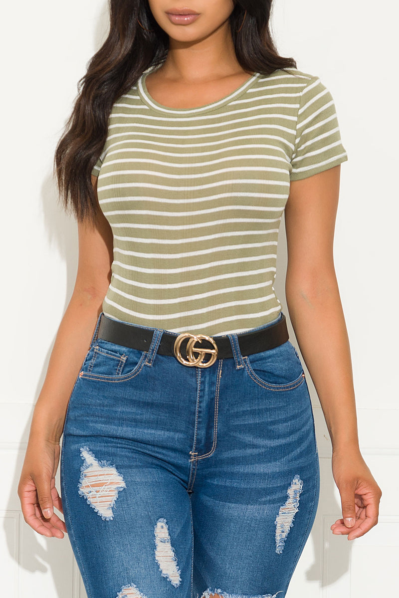Sunny Day Striped Top Dusty Olive/White
