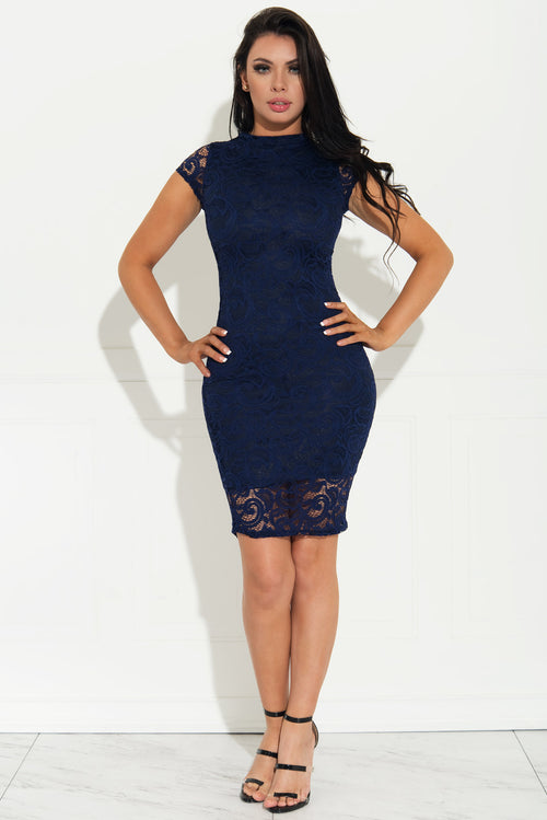Natalie Lace Dress Navy