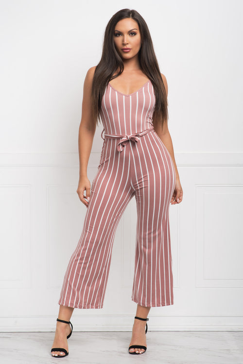 Annie Striped Jumpsuit - Dusty Pink