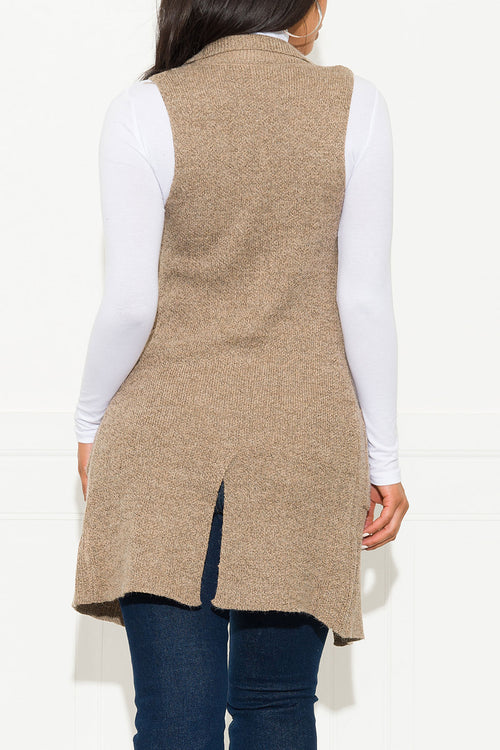 Handle It Cardigan Vest Heather Khaki