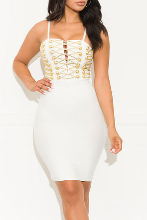 No Letting Go Bandage Dress White