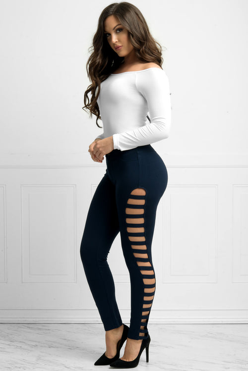 Odette Cut-Out Caged Pants Navy Blue