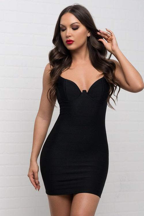 Brooklyn Bandage Mini Dress - Black