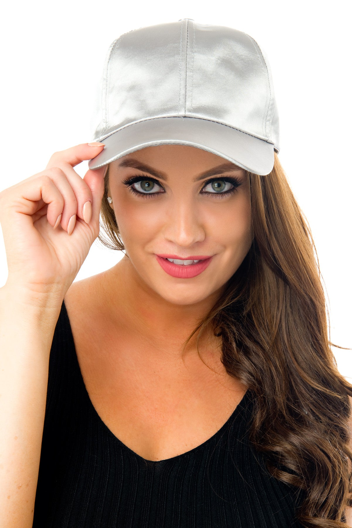Lined Up Silver Satin Cap - Fashion Effect Store  - 1