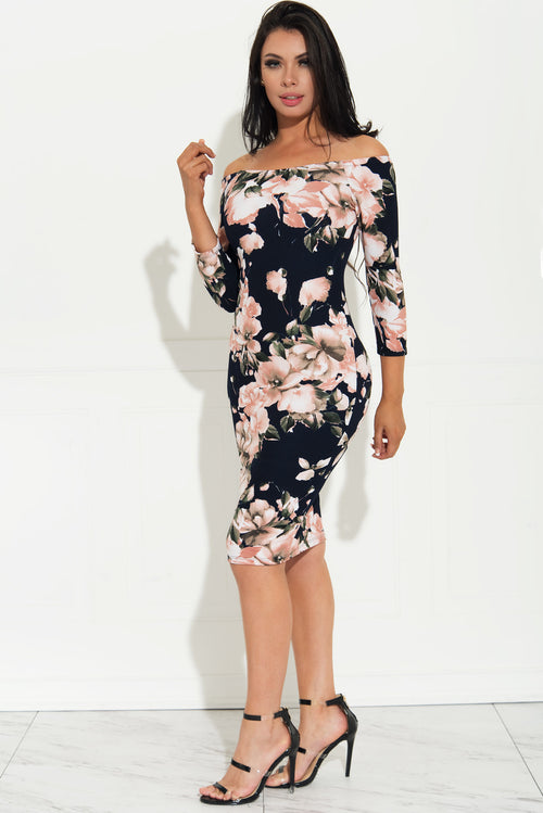 Seduced By Flowers Dress Navy