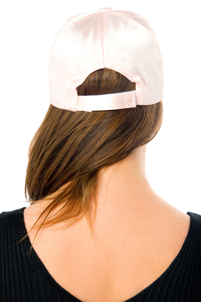 Lined Up Blush Satin Cap - Fashion Effect Store  - 2