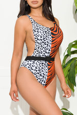 Camarillo Beach One Piece Swimsuit Animal Print Orange