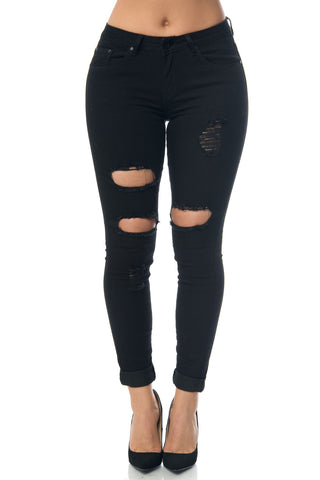 Skyler Black Distressed Jeans - Fashion Effect Store  - 1