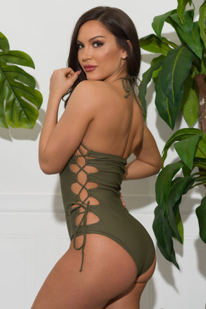 Gleaming Bay One Piece Swimsuit  Olive
