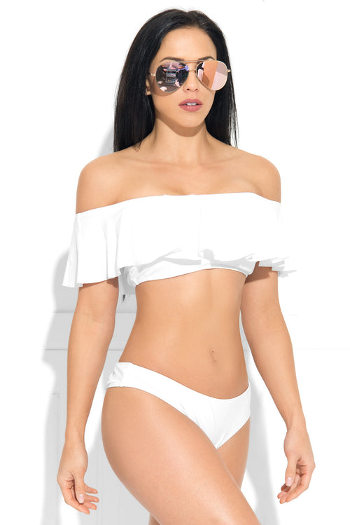 Sammy Off Shoulder White Swimsuit