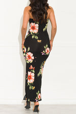 Tropical Paradise Floral Maxi Dress Black