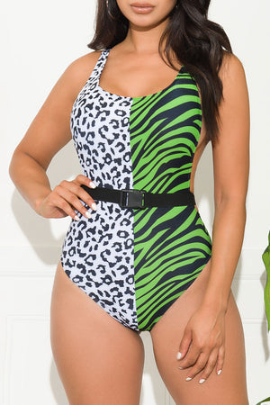 Camarillo Beach One Piece Swimsuit Animal Print Green